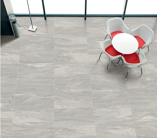 Grey porcelain tile flooring