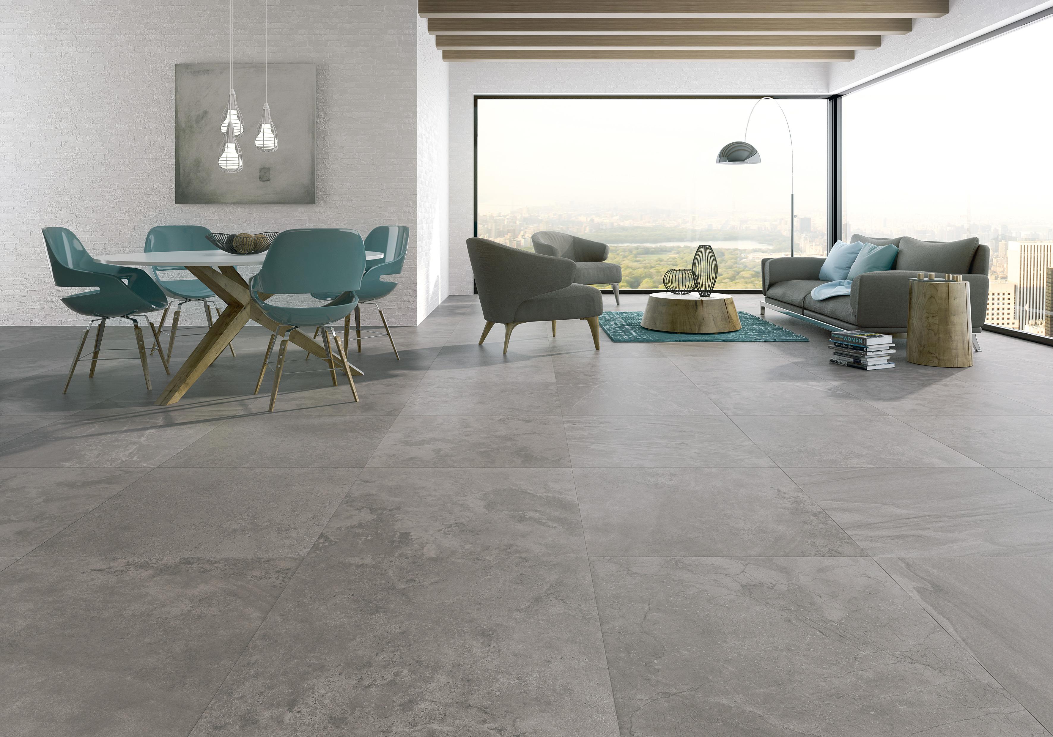 Ak n form ty 75x75 cm la futura for Piso cemento pulido blanco